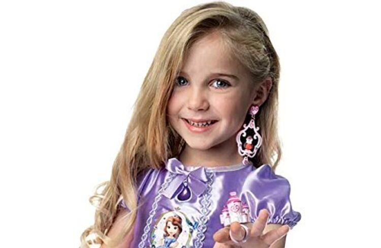Orecchini e anello con mini personaggi Principessa Sofia.