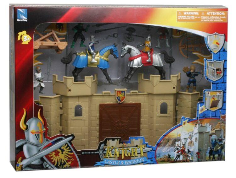 Play set castello medievale con cavalieri e accessori.