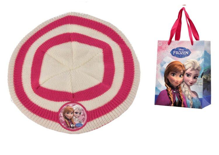 Basco in maglia a righe con bustina regalo Disney Frozen