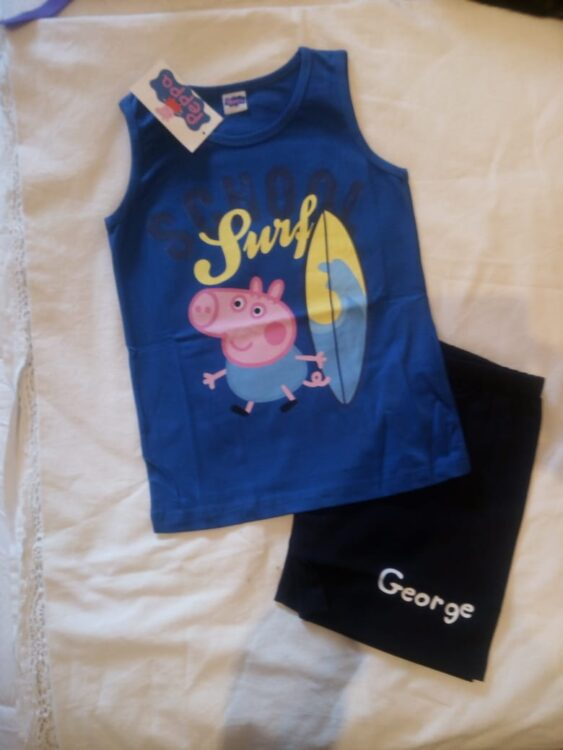 "Completo canotta Peppa Pig ""George e il Surf"""