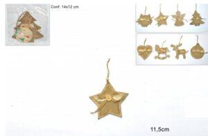 Set da 24 appendini in legno per albero di Natale. Color Oro.