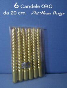 Set 6 Candele Di Natale Colore Oro 20 cm