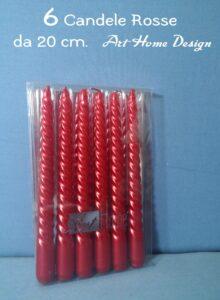 Set 6 Candele Di Natale Rosso Perlato 20 cm