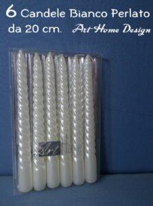 Set 6 Candele Di Natale Bianco Perlato 20 cm