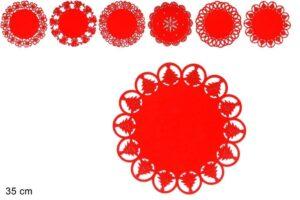 Centrino Natalizio in Feltro Rosso 35 cm