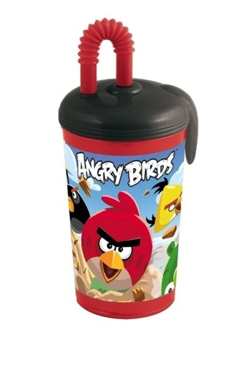 Bicchiere con cannuccia Angry Birds