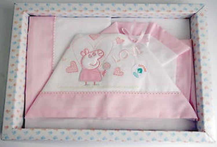 Completo lenzuolino culla Peppa Pig