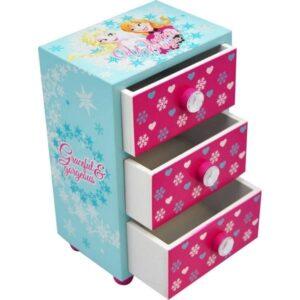 Portagioie in legno con cassetti Disney Frozen Winter