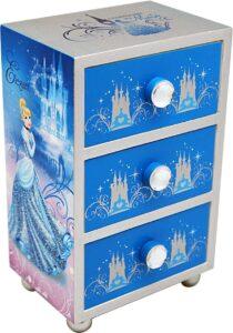 Portagioie in legno con 3 cassetti Principesse Disney