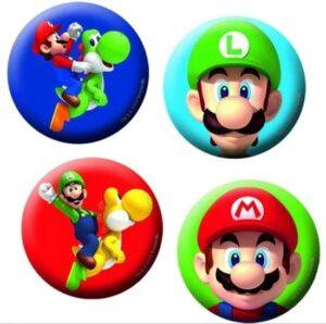 Confezione 4 party badges Super Mario