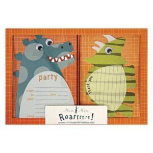 Inviti Dinosauri e cartoncini ringraziamento 8pz