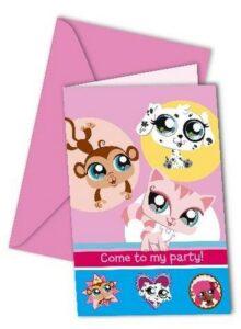 Confezione 6 inviti festa Littlest Pet Shop
