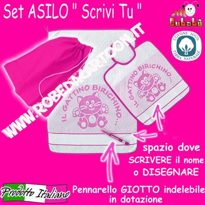 "Set asilo 3 pezzi tema gattini ""SCRIVI TU"" Bianco/Fuxia"