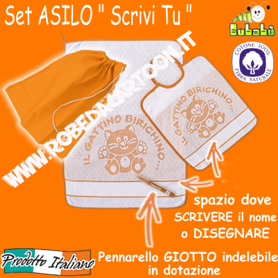 "Set asilo 3 pezzi tema gattini ""SCRIVI TU"" Bianco/Arancio"