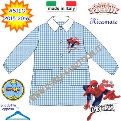 Grembiule asilo Spiderman quadrettato celeste