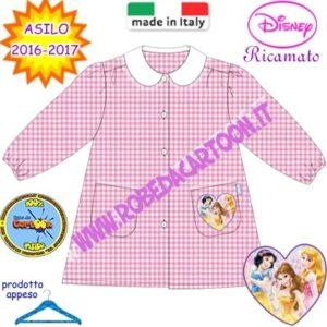Grembiule asilo Disney Princess rosa quadrettato