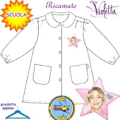 Grembiule scuola elementare Violetta bianco
