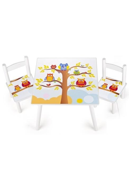 Set tavolo e 2 sedie Gufi