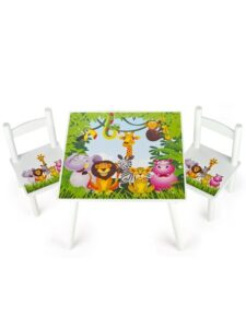 Set tavolo e 2 sedie Animali della Giungla