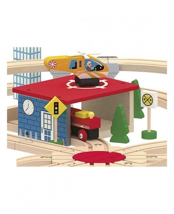 Leomark treno e binari in legno - 130 pz