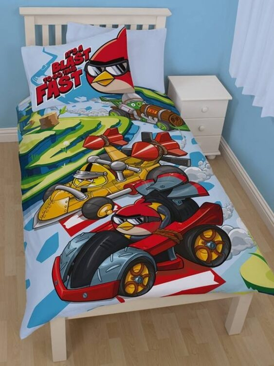 Parure copripiumino singolo Angry Birds Go Fast