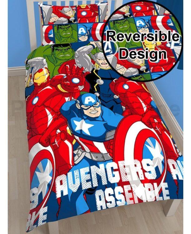 Parure copripiumino letto singolo Avenger Assemble Reversibile 2 in 1