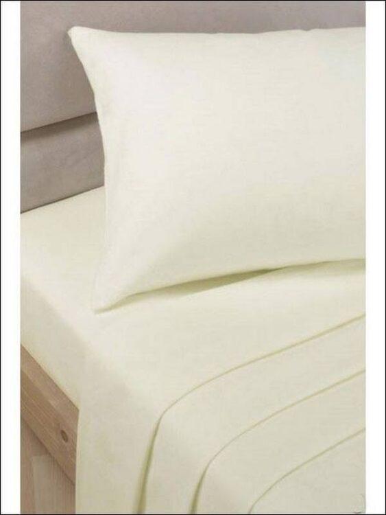 Lenzuolo di sotto panna con angoli letto singolo