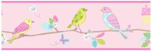 Bordo decorativo rosa Uccellini