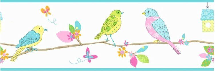 Bordo decorativo azzurro Uccellini