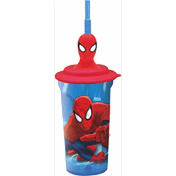 Bicchiere 3D con cannuccia Spiderman