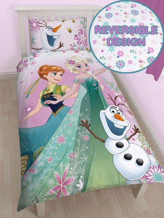 Parure copripiumino singolo double-face Disney Frozen Fever