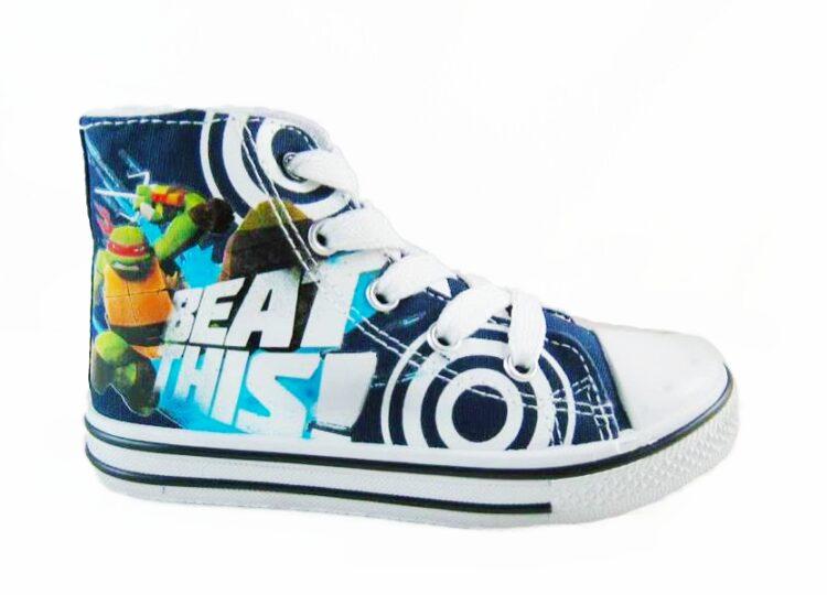 Sneakers alte Tartarughe Ninja in tela tipo Converse