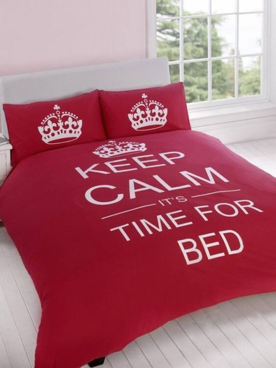 Parure copripiumino matrimoniale reversibile Keep Calm It's time for bed