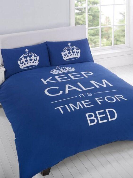 Parure copripiumino matrimoniale reversibile Keep Calm It's time for bed blu