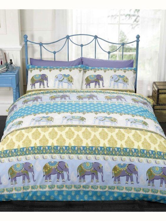 Parure copripiumino matrimoniale Jaipur Elephant Blu
