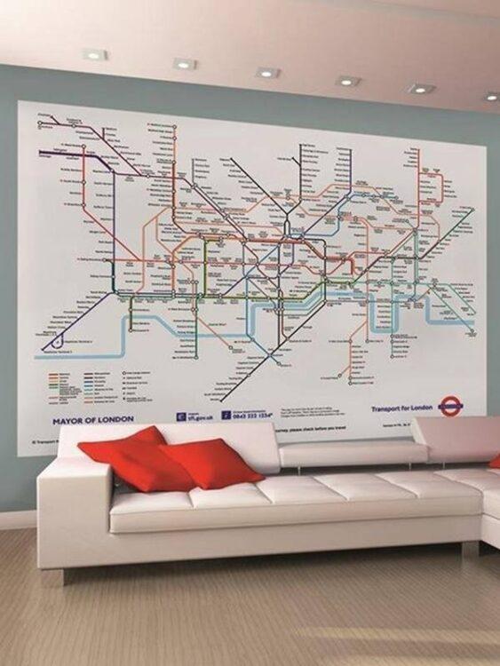Fotomurale Mappa metropolitana Londra 232 x 158cm