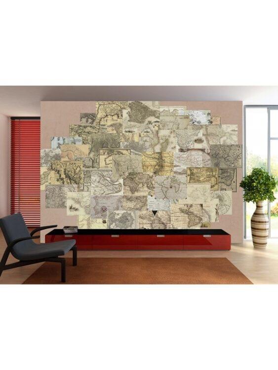 Murale Creative Collage Vintage Maps