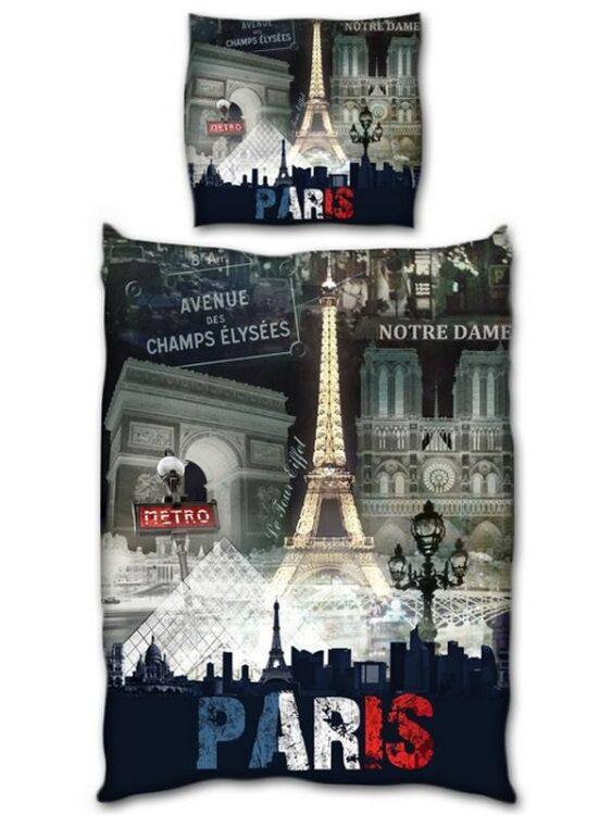 "Parure Copripiumino Singolo reversibile Parigi ""Night"""