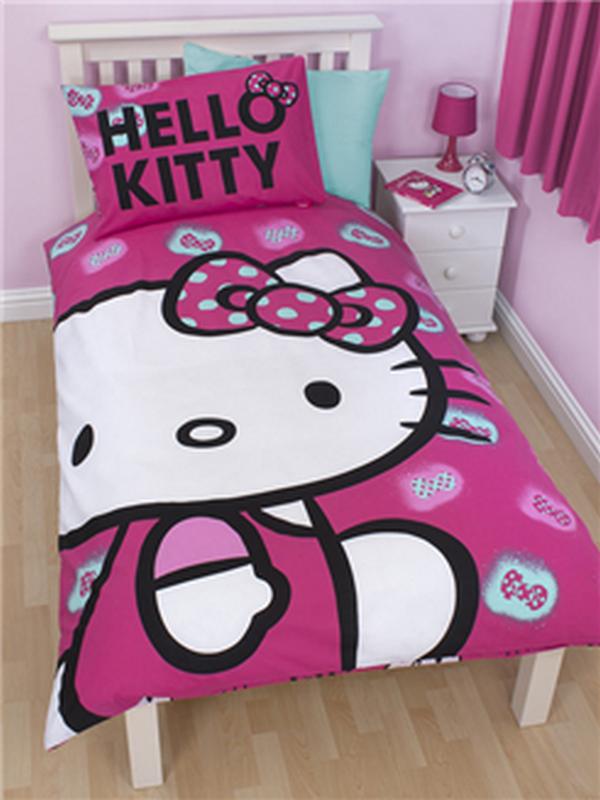 Parure Copripiumino Singolo Reversibile Hello Kitty Fiocchi Copripi