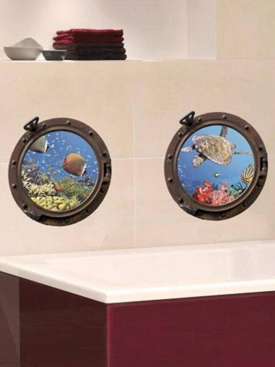 Adesivi murali Oblò Sottomarino Pesci