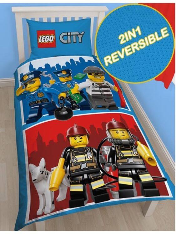 Parure copripiumino singola reversibile Lego City Heroes