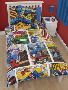 Parure copripiumino singolo reversibile Marvel Heroes Capitan America