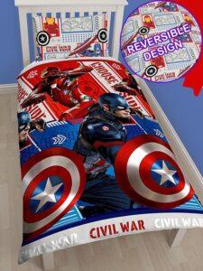 Marvel Capitan America Civil War- Parure Copripiumino singolo double-face