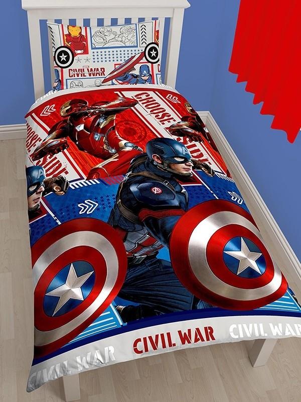 Copripiumino Capitan America.Marvel Capitan America Civil War Parure Copripiumino Singolo Doubl
