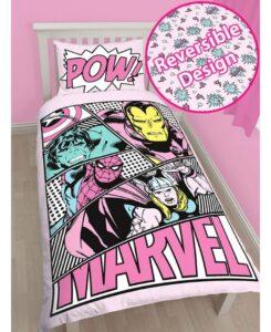 Parure copripiumino singolo Marvel Pink