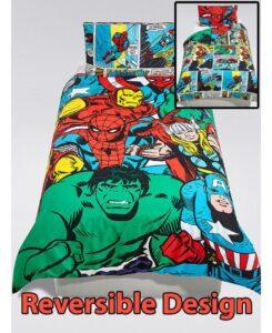 Parure copripiumino letto singolo Super Eroi Marvel Reversibile 2 in 1 - 100% cotone