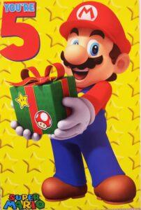 Biglietto Auguri XL Super Mario 5 anni