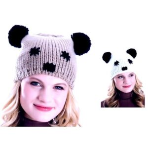 """Berretto donna in maglia con orecchie """"Panda"""""""