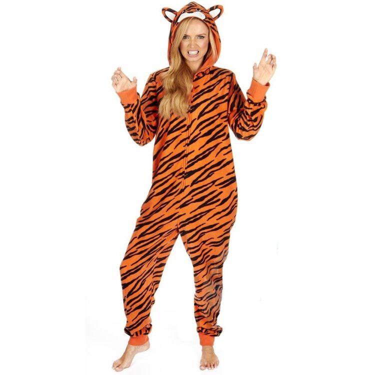 Pigiama intero donna tigre con cappuccio