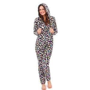 Pigiama intero donna leopardato multi-color con cappuccio